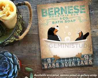 Bernese Mountain dog berner bath soap Company artwork on gallery wrapped canvas by Stephen Fowler