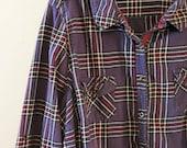 50 % CLEARANCE! Purple Vintage Grunge Plaid Shirt, Women's Flannel, Button Up, Large Size, Street Fashion, Punk, 90s