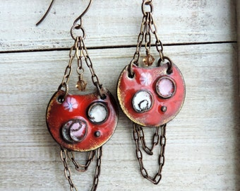 Enameled Chain Trapeze Chandelier Brass Swarovski Crystal Dangle Earrings - Red Cherry and Pink Blossom Pools