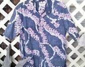 Cooke Street Hawaiian Shirt, Reverse Weave, Leis on Black Background, sz Medium