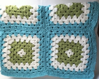 Vintage Crochet Baby Afghan or Lap Afghan - Granny Squares in Aqua, Green and White