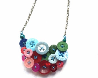 Funky Recycled Buttons Statement Necklace in Pink Blue Green - Designer Name Brand Buttons