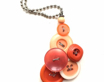 Orange Vintage Button Pendant