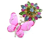 Jewelry Lot of 2 Brooches, Gerry's Pink Butterfly + Colorful Rhinestone Flower, Lot of 2, Pink Blue Green, c1960s Costume Jewelry