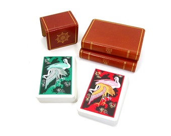 KEM Playing Cards, Red and Green Crane Birds Design on Black, Vintage 1955 Playing Cards, Set of Two 52 Card Decks, No Jokers