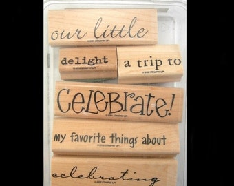 Stampin' Up Rubber Stamps - Miscellaneous Words and Phrases - Set of 6 Wood and Rubber Stamps - Craft Supply