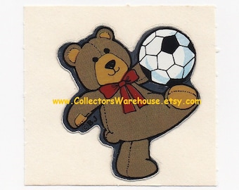 Soccer Playing Teddy Bear Chrome Sticker Vintage 80s sports BJ Decal Specialties foil