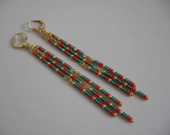 Seed Bead Dangle Earrings - Green/Red Orange
