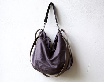 sale - 100 off - waxed canvas bag - HOBO PACK - wax canvas crossbody bag - large wax canvas rucksack - canvas travel bag