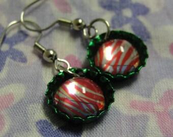 Cute Red White Stripe Green Bottle Cap Dangle Pierced Earrings