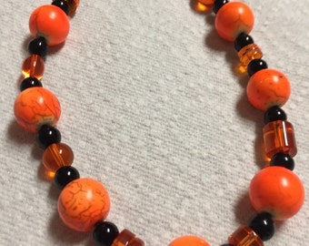 Neon Orange Black Beaded 16 inch Necklace
