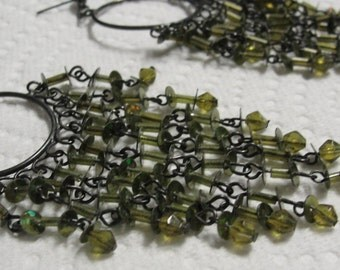 Green Sequin and Beaded Dangle PIerced Earrings
