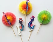Paper Peacock Party Honeycomb Toothpick Birds