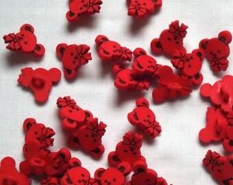 Red Teddy Bear buttons, 9mm x 5