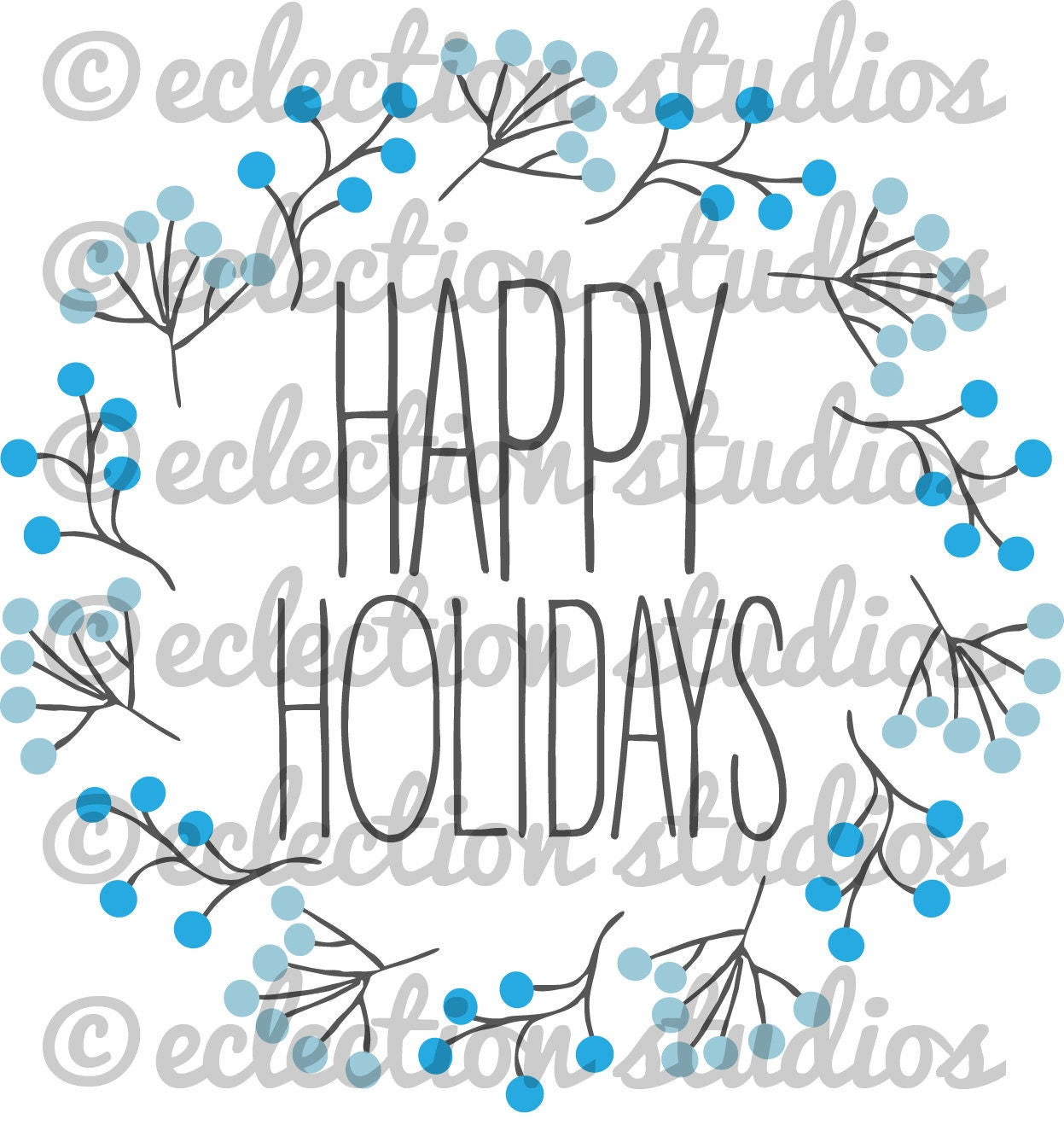 Happy Holidays Modern Wreath Christmas Script Svg Png Jpg