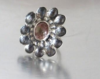 Large Silver Ring, Pink Tourmaline Ring, Silver Tourmaline Ring, Silver Stone Ring, Artisan Jewelry Ring, Sterling Gemstone Ring,