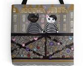Paris Love Locks Cats - Whimsical Cat Folk Art Tote Bag