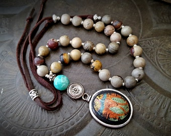 Artisan Jewelry, Crazy Horse Gemstone, Wood Pendant, Up-Cycled, Recycled, Leather, Beaded Necklace