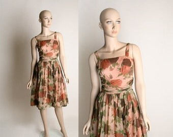ON SALE Vintage 1960s Rose Dress - Sheer Chiffon Peach Floral Print Party Dress - Small