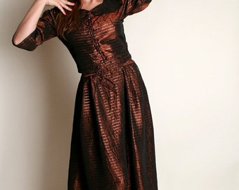 ON SALE Vintage 1950s Evening Dress - Chocolate Bronze Brown and Gold Striped Blouse and Skirt Set - Medium