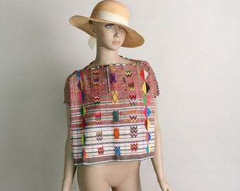 ON SALE Vintage Guatemalan Woven Top - Huipil Poncho Rainbow Tent Tunic Cropped Blouse  -  Small
