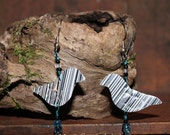 Vintage, Recycled, Metal, Tin, Junk, Gypsy Earrings, Birds, Bead, Stamped, Mixed Media