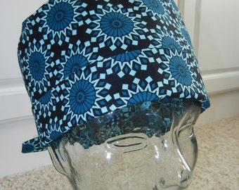 Tie Back Surgical Scrub Hat with Midnight Kaleidoscope