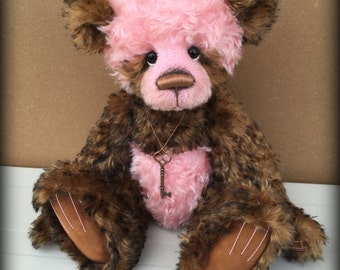 Rainie KIT - make your own 16IN chocolate and Pink kid mohair artist bear