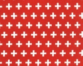Plus Fabric in Red, Remix fabric, Geometric fabric, Designer fabric, Ann Kelle for Robert Kaufman, Cotton fabric by the yard, Red fabric