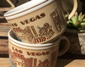 VINTAGE MUGS...4 wide ceramic white/beige Las Vegas bowl cups, gift guide, Casino theme, mid century design,retro