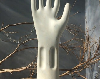 VINTAGE HOME...glove mold white ceramic jewelry display rustic decor-cottage chic