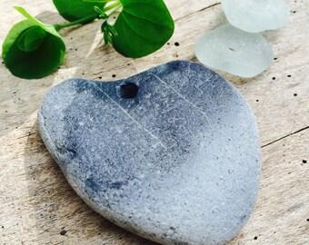 STONE HEART...3 piece natural beach stone,aqua seaglass from Seaham,UK,organic supplies,love rocks,wedding token,zen