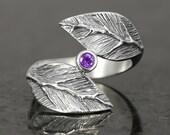 Amethyst sterling silver leaf ring  - elf pixie tribal boho