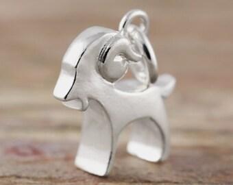 Aries zodiac pendant in sterling silver