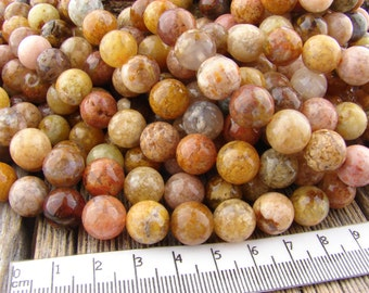 10mm Rainbow Agate Beads - Round Agate Beads - Plume Agate Beads, Regency Rose Agate, Gemstone Multicolor Beads - Peach Brown Gray yellow