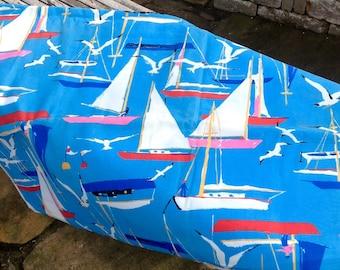 FREE SHIPPING-Vintage Heavy Cotton Coastal Sailboats and Seagulls Material/Fabric Aqua Background-Nautical Decor-Lake House-Tablecloth