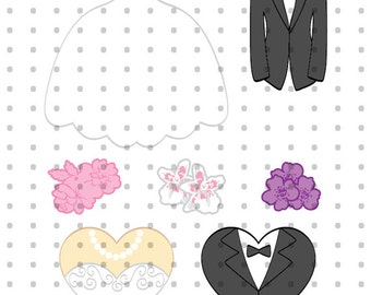 Wedding Dress and Tux Royalty Free Clipart Set