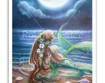 Mermaid art,Mermaids Mom and Child  in the Moonlight, 11x14 PRINT from original