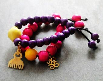 Beaded Bracelets, Stretch Bracelets, Adinkra Symbol, Adinkra Bracelets, Bracelet Set, African Beauty Adinkra Wood Beaded Bracelet Set