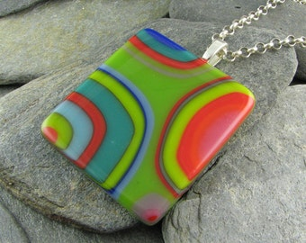 Abstract, Retro Flowing Colorful Pendant. Colorful Necklace. Contemporary Jewelry. Modern Jewelry. Funky Jewelry. Trendy Jewelry.