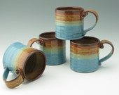 Handmade Hot Cocoa Mug, Large 16 oz Honey & Lt Blue Stoneware Coffee Mug, Sold Singly, Ready to Ship
