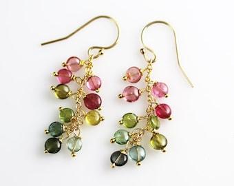 Watermelon Tourmaline Earrings - Coin Cluster - Tourmaline Earrings - Green Pink Blue Tourmaline