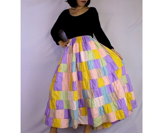 Hippie Gypsy Boho Long Cotton Smock Patchwork  Plus Size Skirt (PW01)
