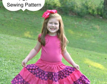 SALE Twirl Skirt Pattern for babies throug adults  4-tiered Skirt -- sizes 3m through 16 Ladies Instant