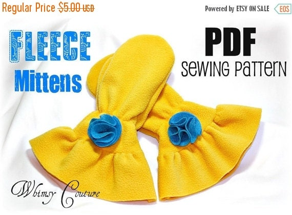 SALE Kids Fleece Mittens Whimsy Couture Sewing Pattern   12m-10 youth PDF Instant
