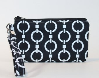 Wristlet / Padded Zipper Pouch - Black Chains