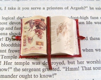 Miniature Book Medieval Gold Illuminated Open Red Dragon Book Ooak