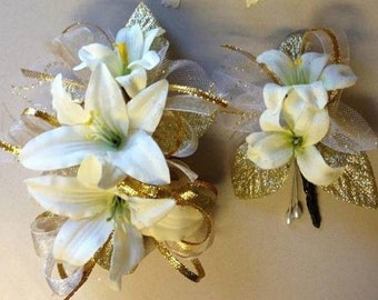 Ivory Silk Lily Prom Corsage and Boutonniere Trimmed Gold (Artificial)