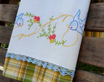 Good Morning Bluebirds a Tweet Pair Flower Spring Recycled Vintage Linen Home Spring Kitchen Home Decor Blue Gold Green Cream Plaid Sweet