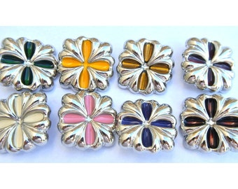 8 Buttons, 8 colors, vintage, square, 27mm, silver color flower with trims